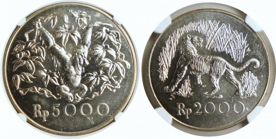 Indonesia, 1974, 2000 Rupiah Conservation series 2 Pcs