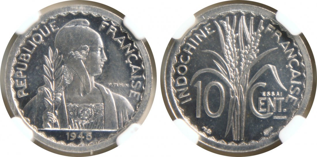 """French Indo China, 1945, Aluminum 10 cents """"ESSAI"""". NGC"""