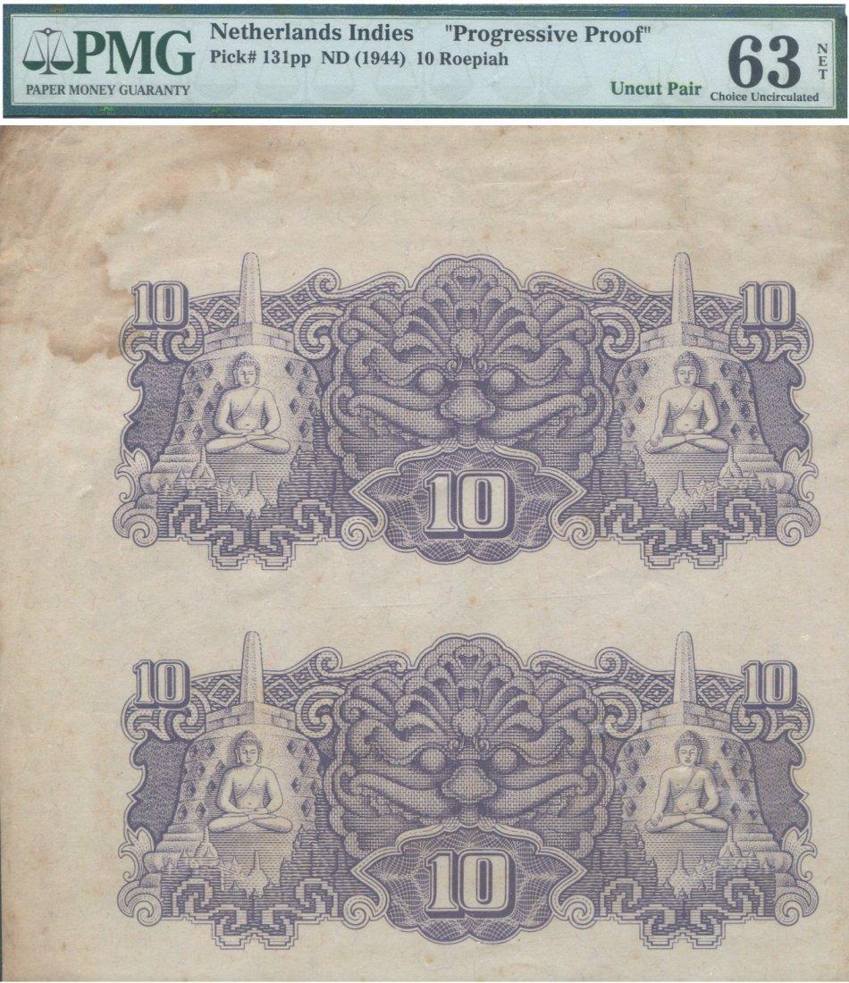 "Netherlands Indies, 1944, 10 Roepiah, ""progressive"