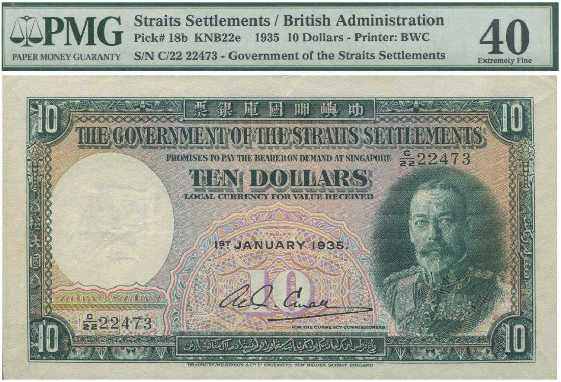 Straits Settlements, 1935, $10, C/22 22473. PMG 40 EF