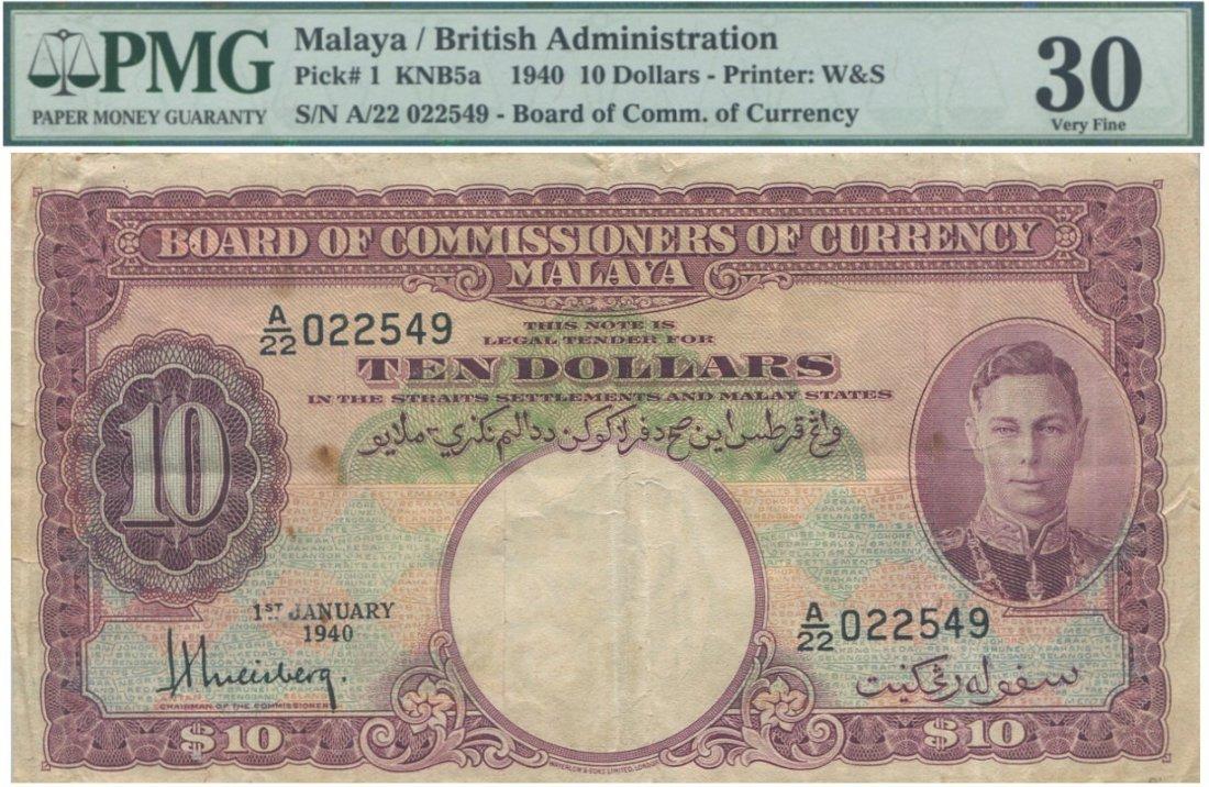 Malaya, 1940, $10.  PMG VF 30