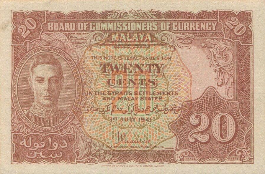 Malaya, 1941, 20c, KG VI. AU. 2pcs