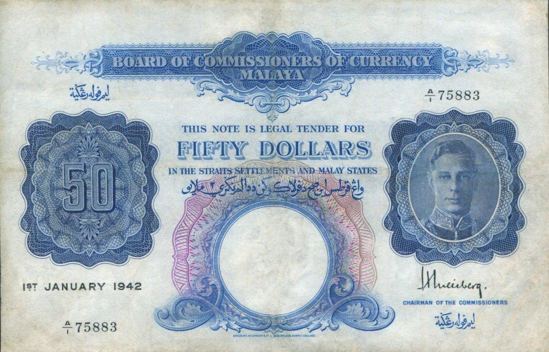Malaya, 1942, $50 Note, GVF