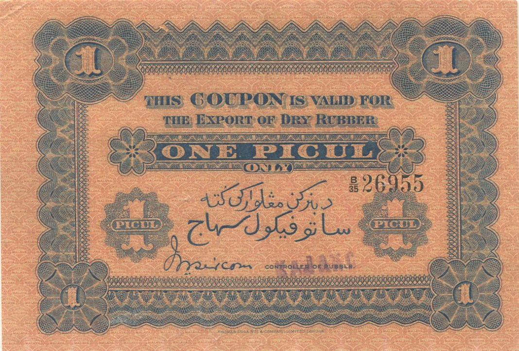 British Malaya, Rubber Export Coupons