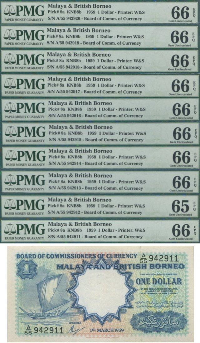 Malaya & British Borneo, 1959, 1 Dollar, consecutive