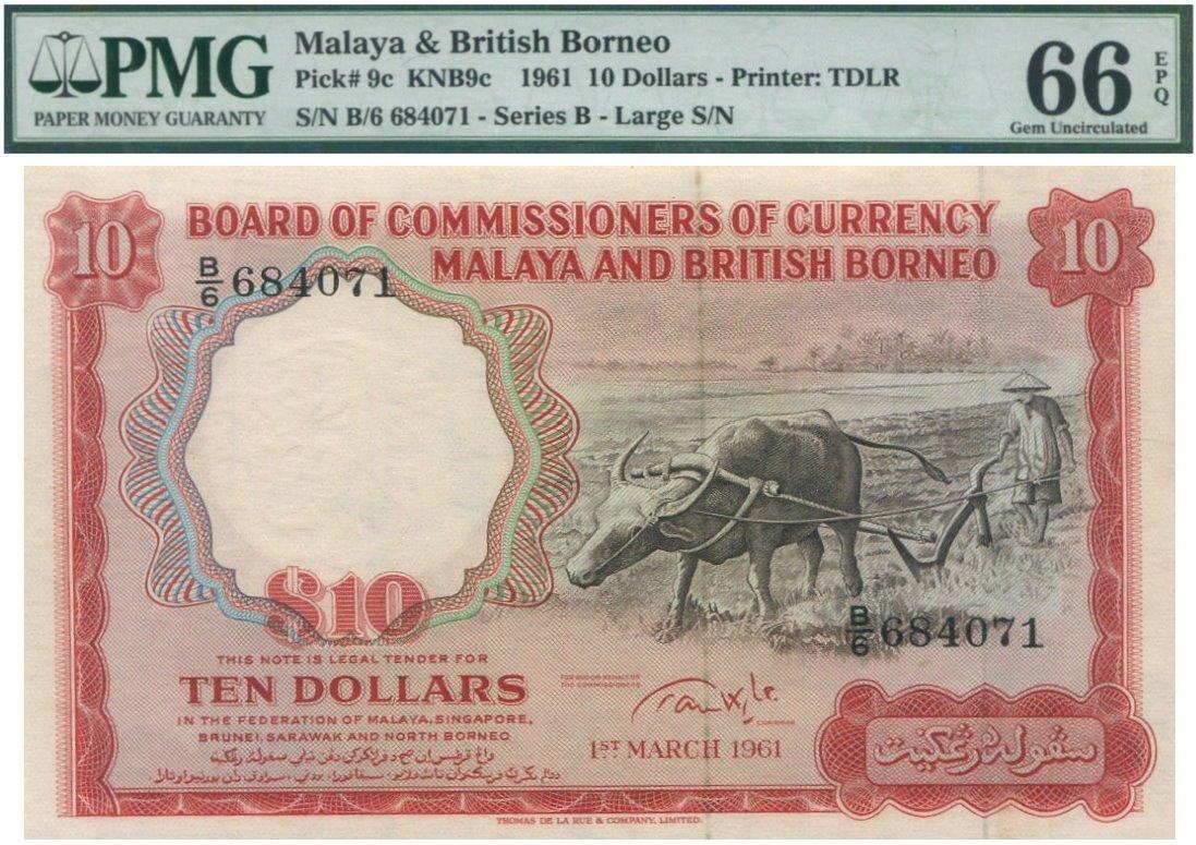 Malaya & British Borneo, 1961, 10 Dollar, PMG UNC 66