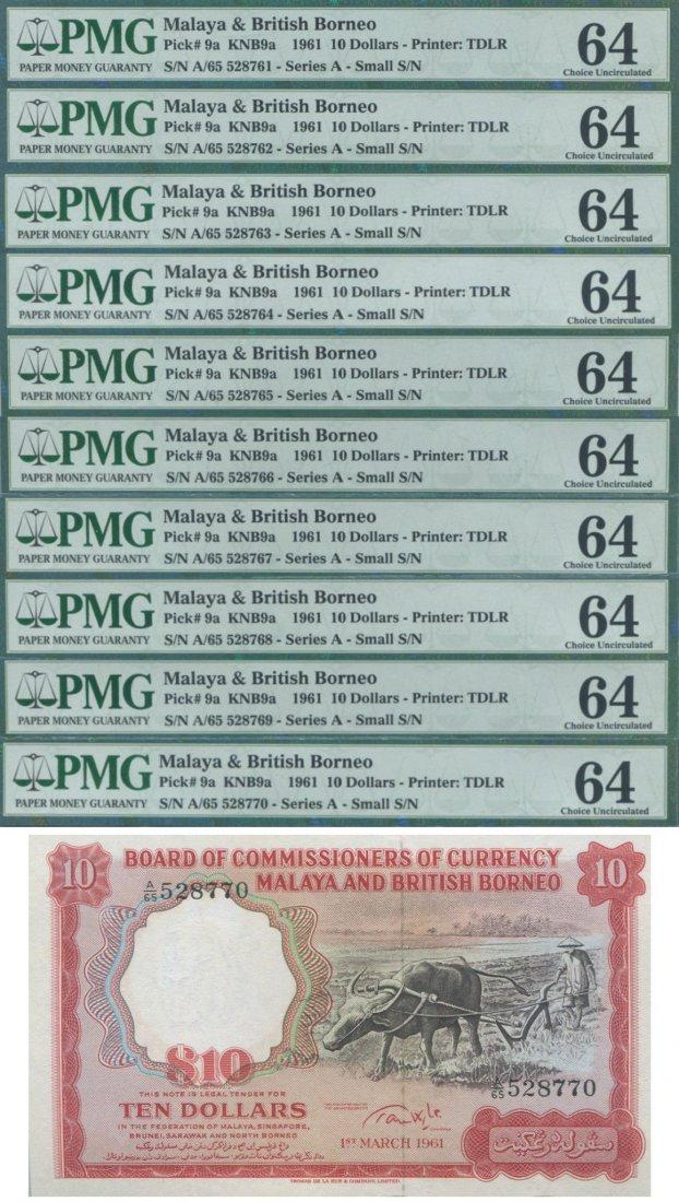 Malaya & British Borneo, 1961, 10 Dollar. consecutive