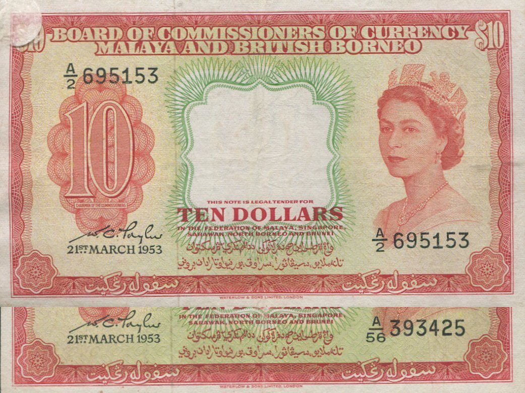 Malaya, 1953, $10. AVF. 2pcs