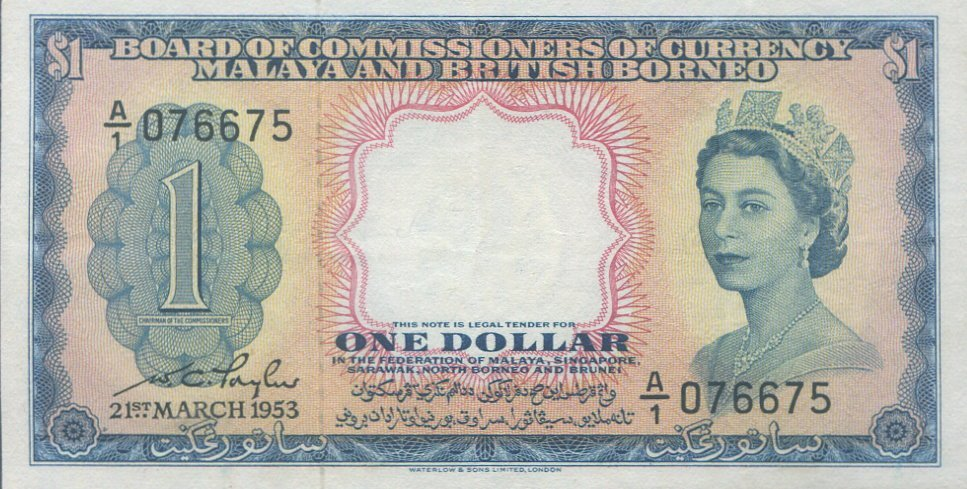 Malaya, 1953, $1. AU-UNC