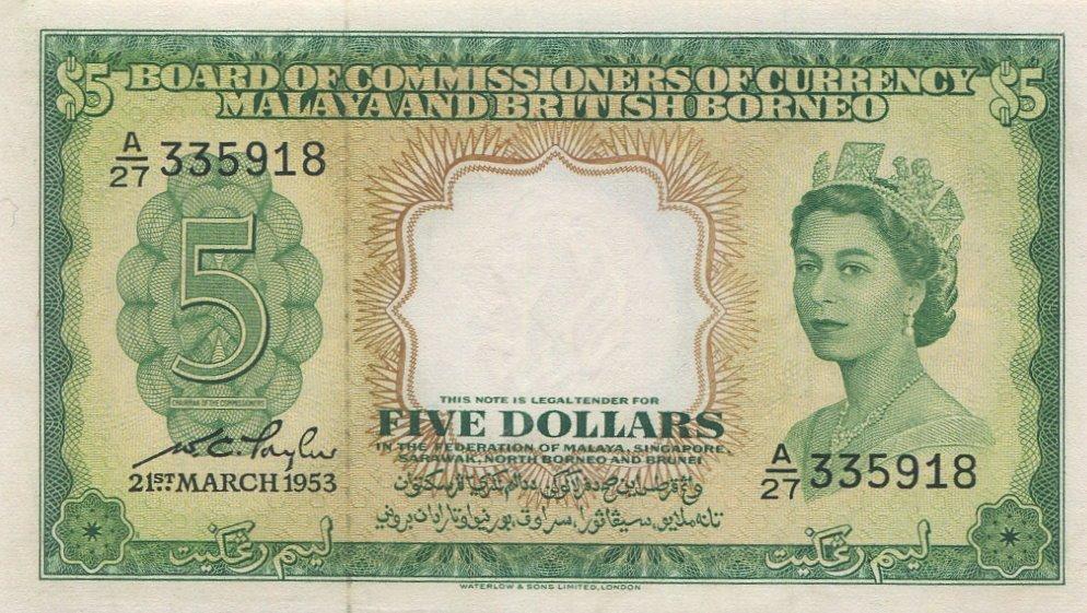 Malaya & British Borneo, 1953, $5. AU-UNC