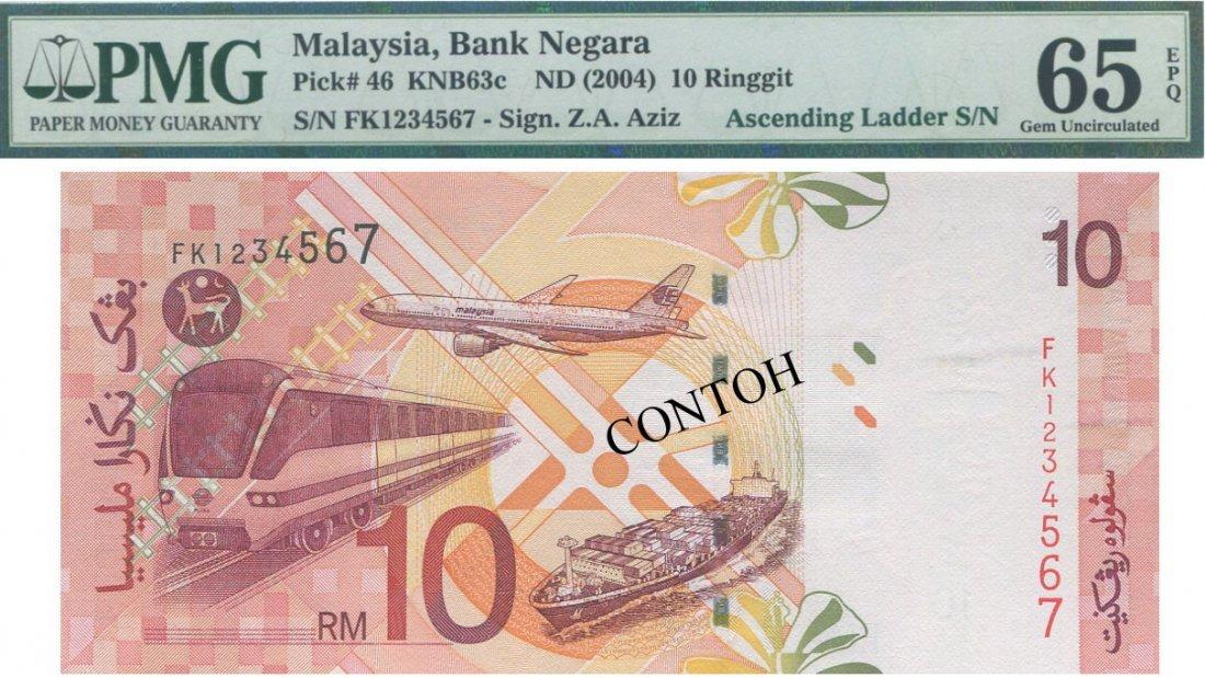 MY, 11th series, RM 10, FK 1234567, PMG 65 EPQ