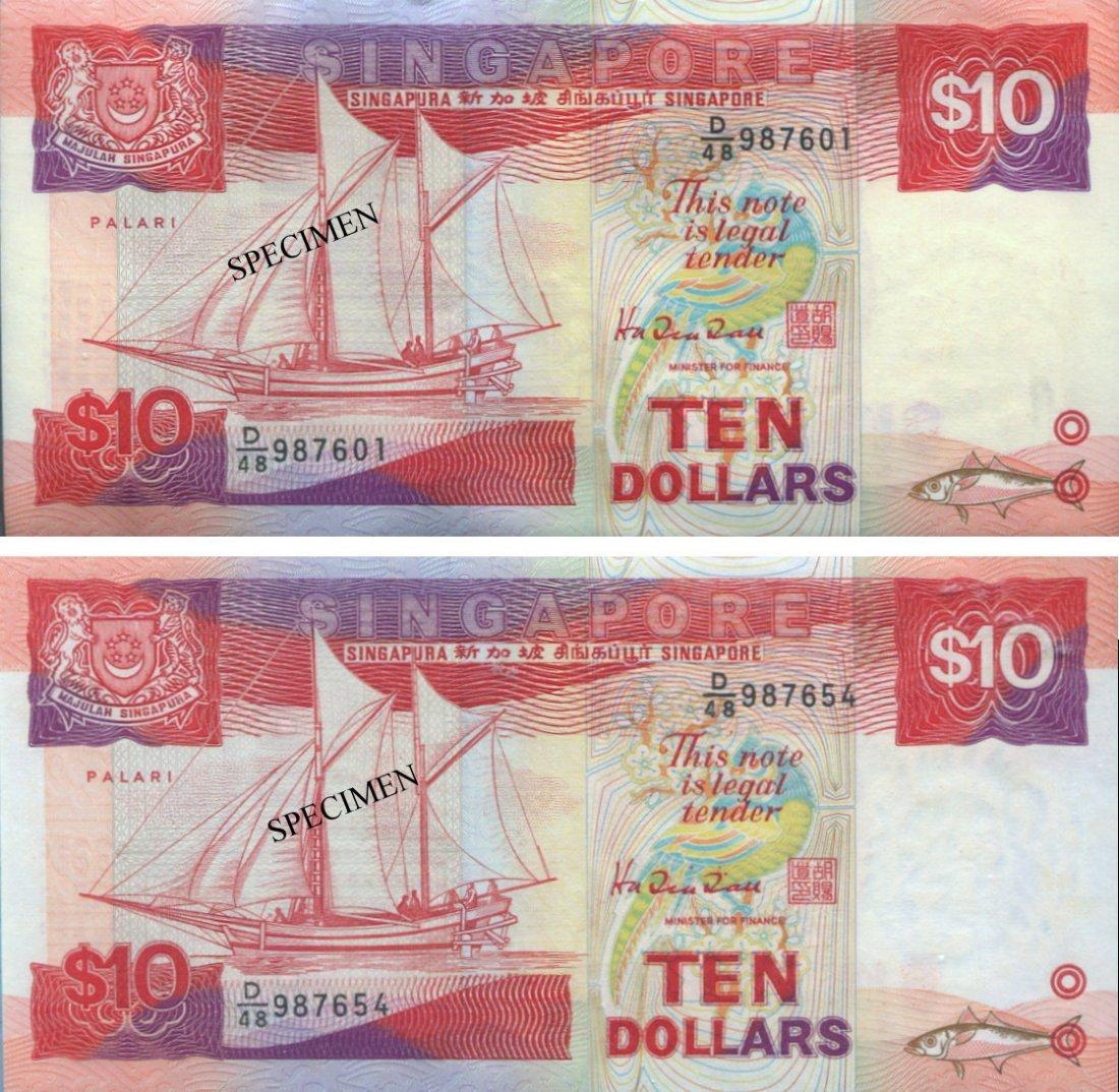 SG, Ship, $10, 100pcs running nos. UNC