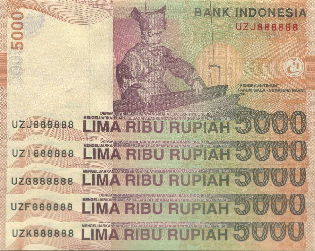 """Indonesia, 2016, 5000 Rupiah, solid """"8"""", 5pcs. AU-UNC"""