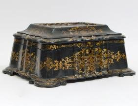 VICTORIAN BLACK LACQUER SEWING BOX