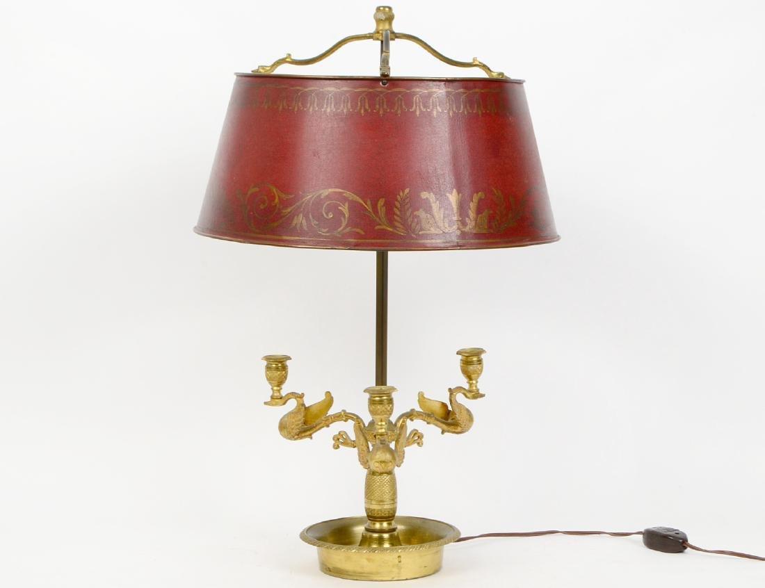 EMPIRE STYLE GILT BRONZE BOUILLOTE LAMP