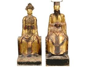 PAIR OF QING GILT WOOD TEMPLE FIGURES EMPEROR & EMPRESS