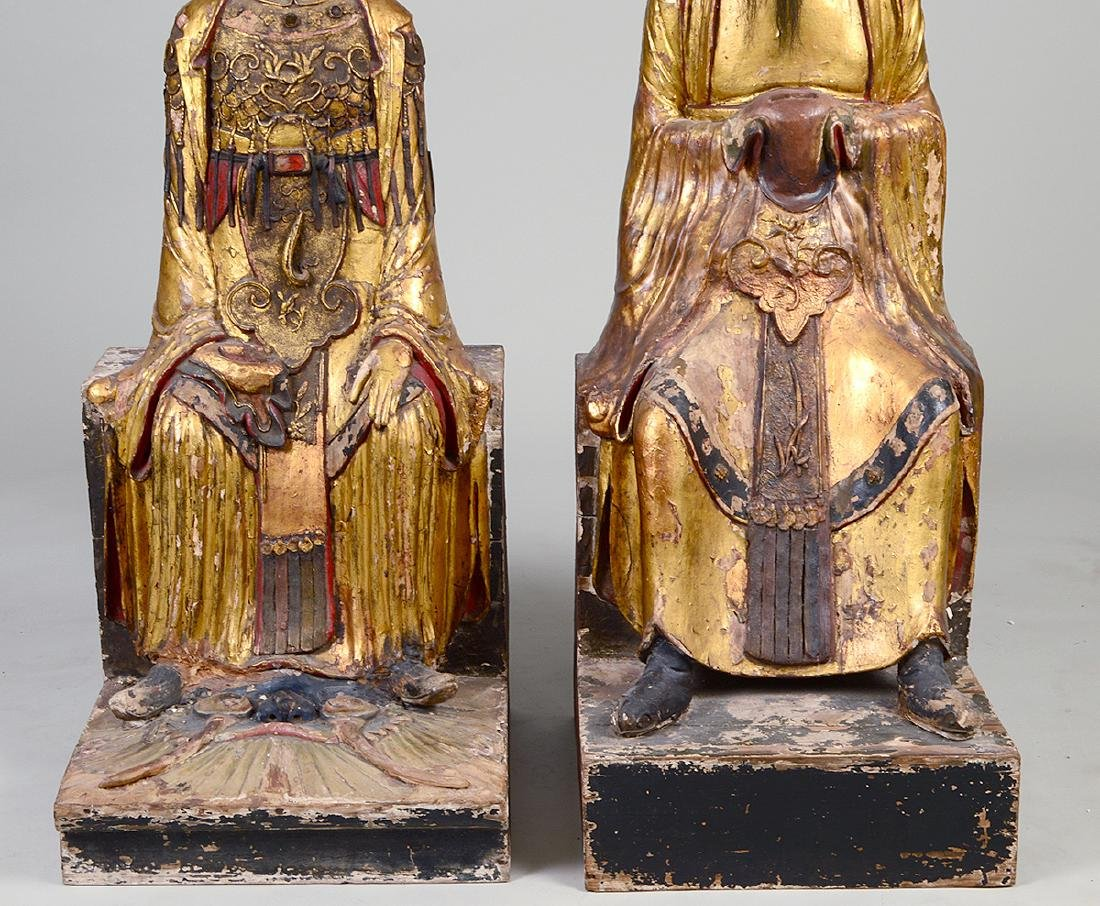 PAIR OF QING GILT WOOD TEMPLE FIGURES EMPEROR & EMPRESS - 2