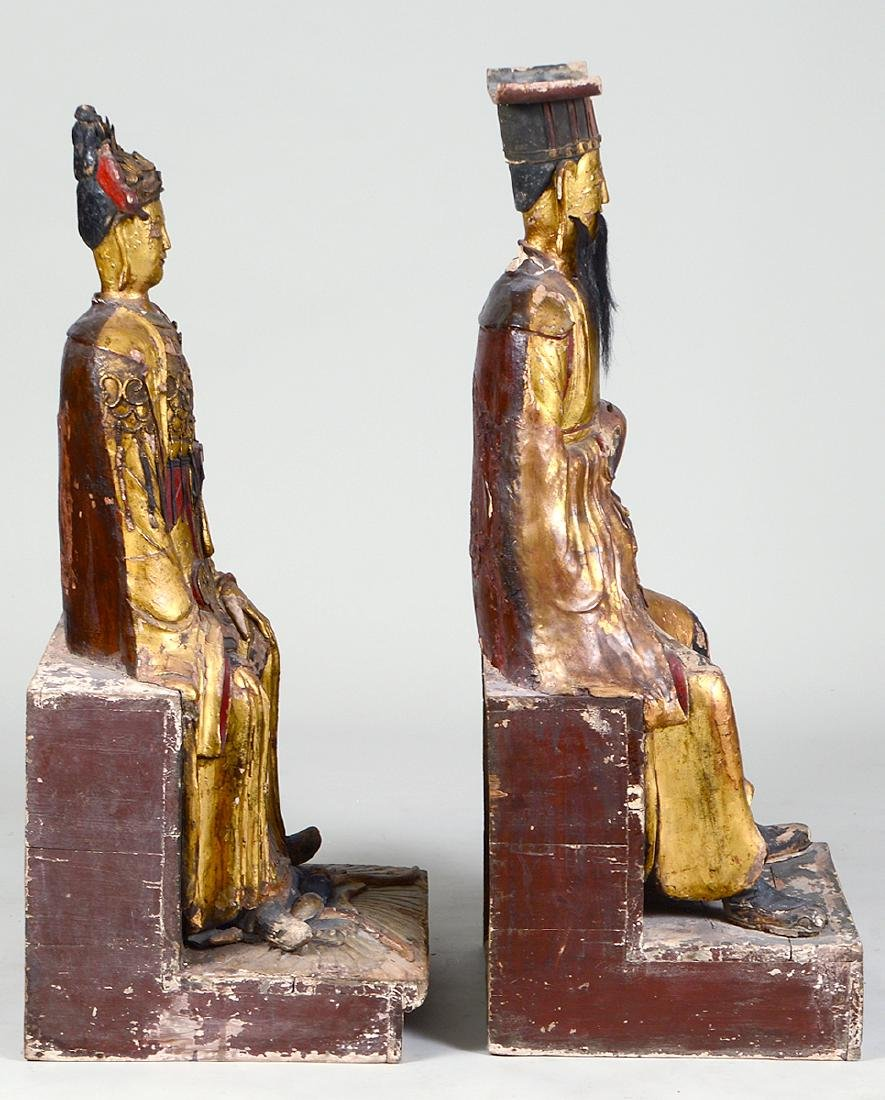 PAIR OF QING GILT WOOD TEMPLE FIGURES EMPEROR & EMPRESS - 5