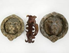 TWO LION AND RING FORM BRONZE DOOR KNOCKERS