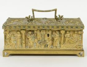 CONTINENTAL GOTHIC STYLE BRONZE RELIQUARY BOX