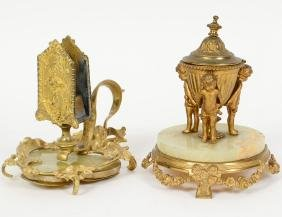 TWO FRENCH GILT BRONZE AND ONYZ DESK ITEMS