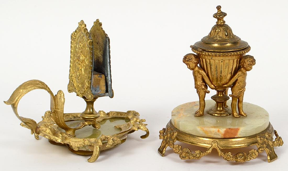 TWO FRENCH GILT BRONZE AND ONYZ DESK ITEMS - 2