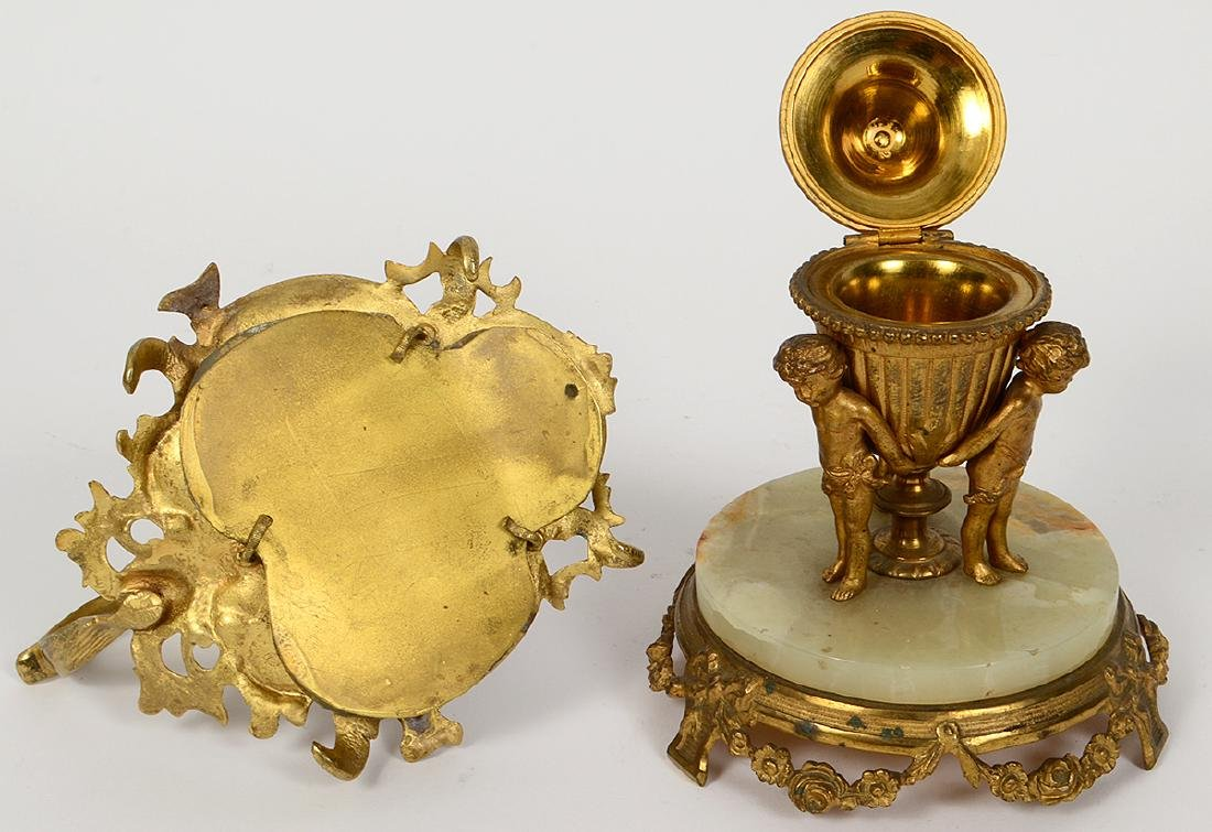 TWO FRENCH GILT BRONZE AND ONYZ DESK ITEMS - 3