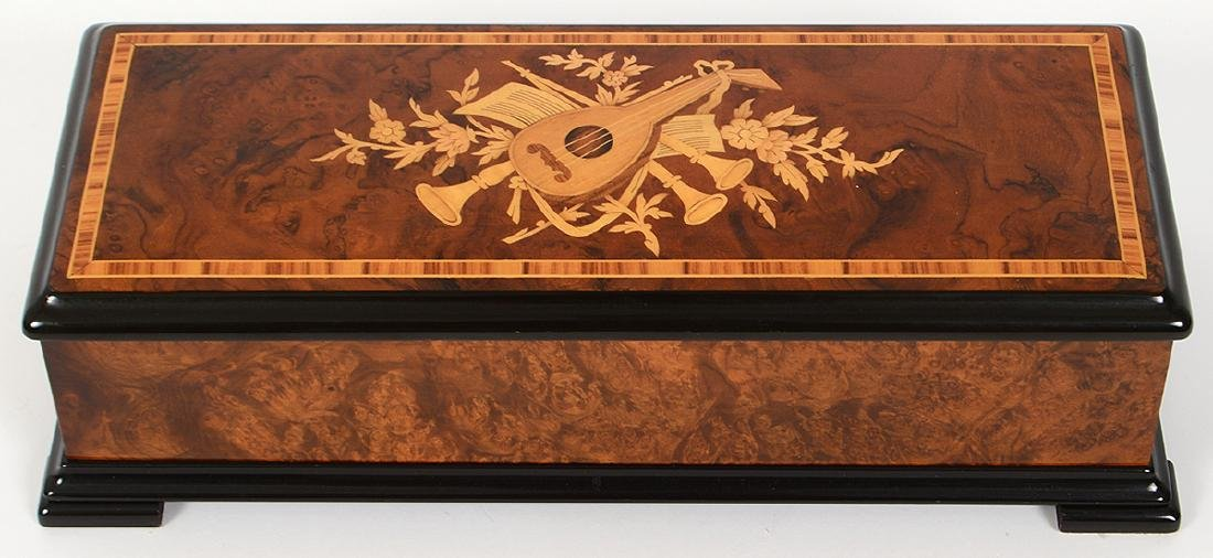 SWISS MARQUETRY CYLINDER MUSIC BOX - 2
