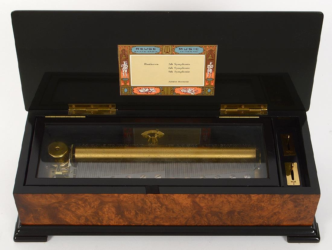SWISS MARQUETRY CYLINDER MUSIC BOX - 3