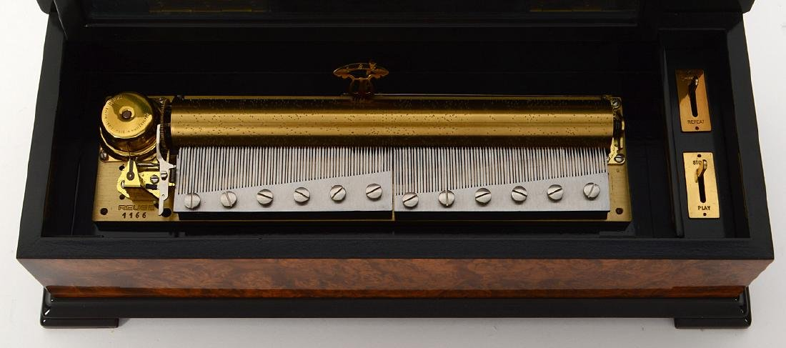 SWISS MARQUETRY CYLINDER MUSIC BOX - 4
