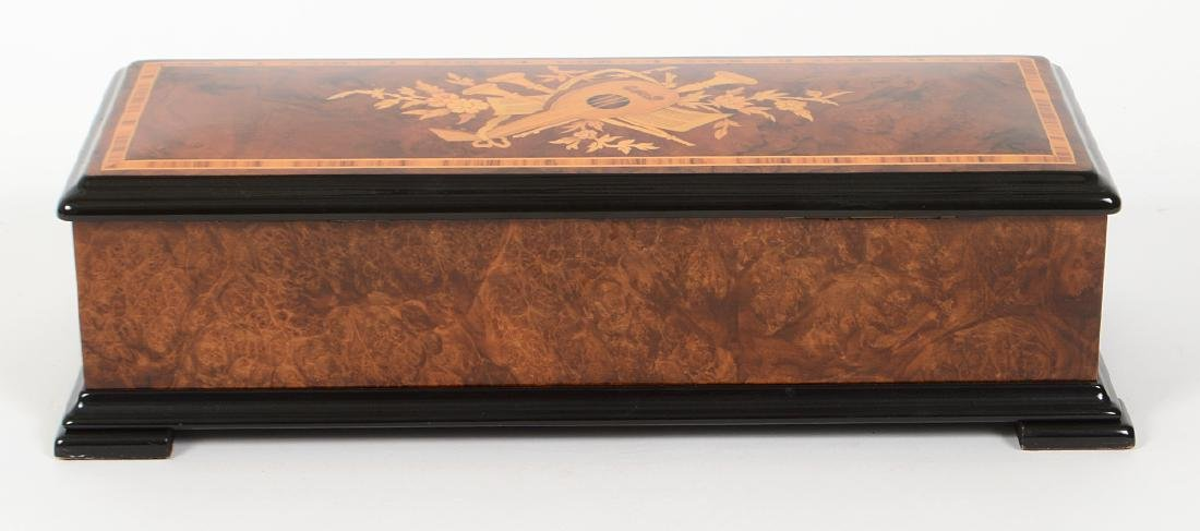 SWISS MARQUETRY CYLINDER MUSIC BOX - 7