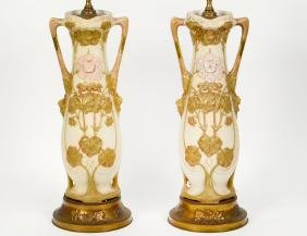 PAIR OF ROYAL DUX PORCELAIN VASES, MOUNTED AS LAMP