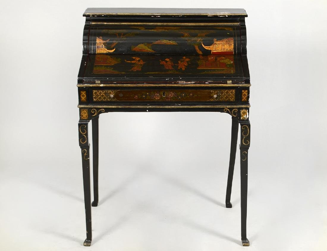 ENGLISH QUEEN ANNE STYLE BLACK JAPANNED DESK