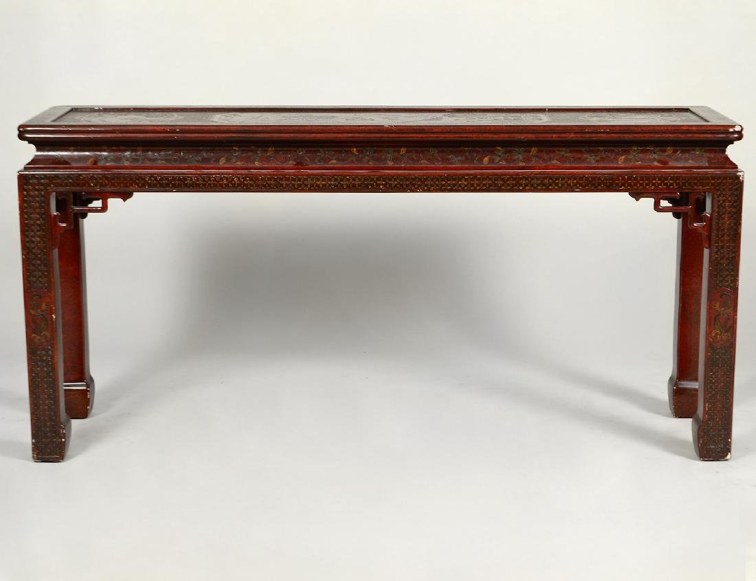 CHINESE STYLE RED LACQUER ALTAR TABLE