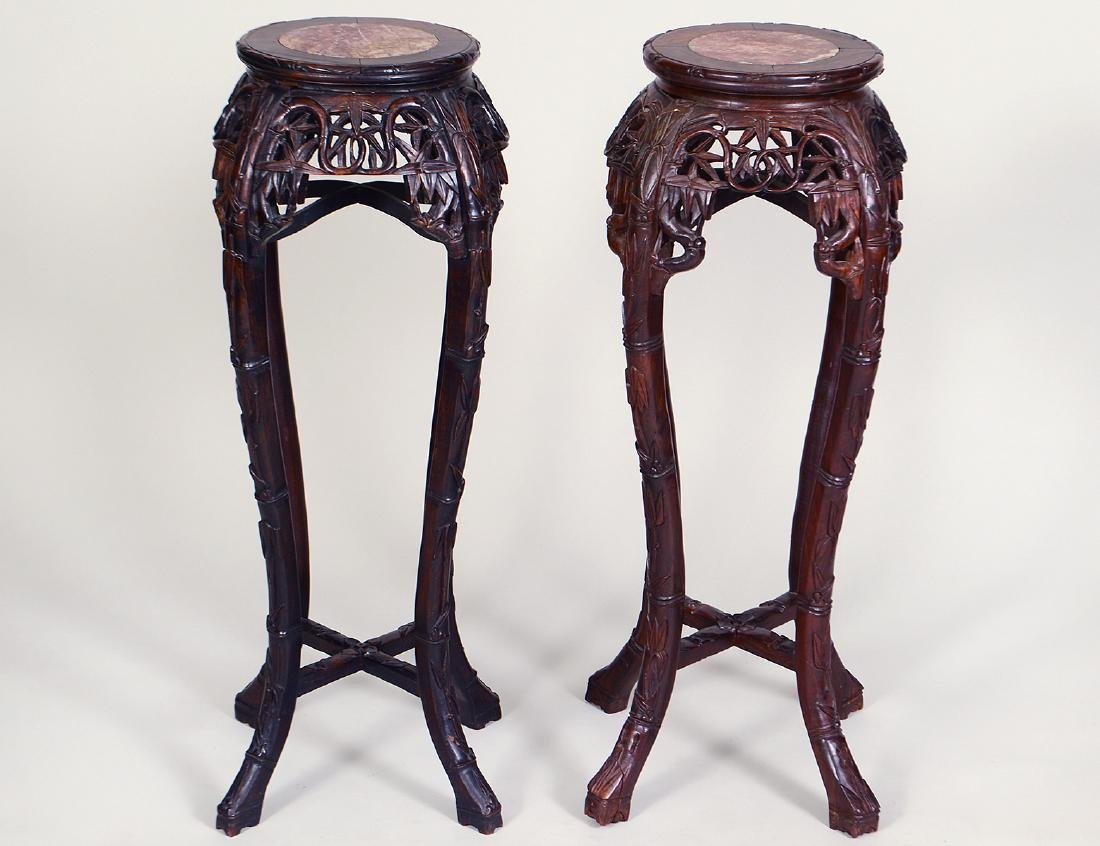 PAIR OF CHINESE MARBLE-INSET CARVED HONG-MU PEDESTAL