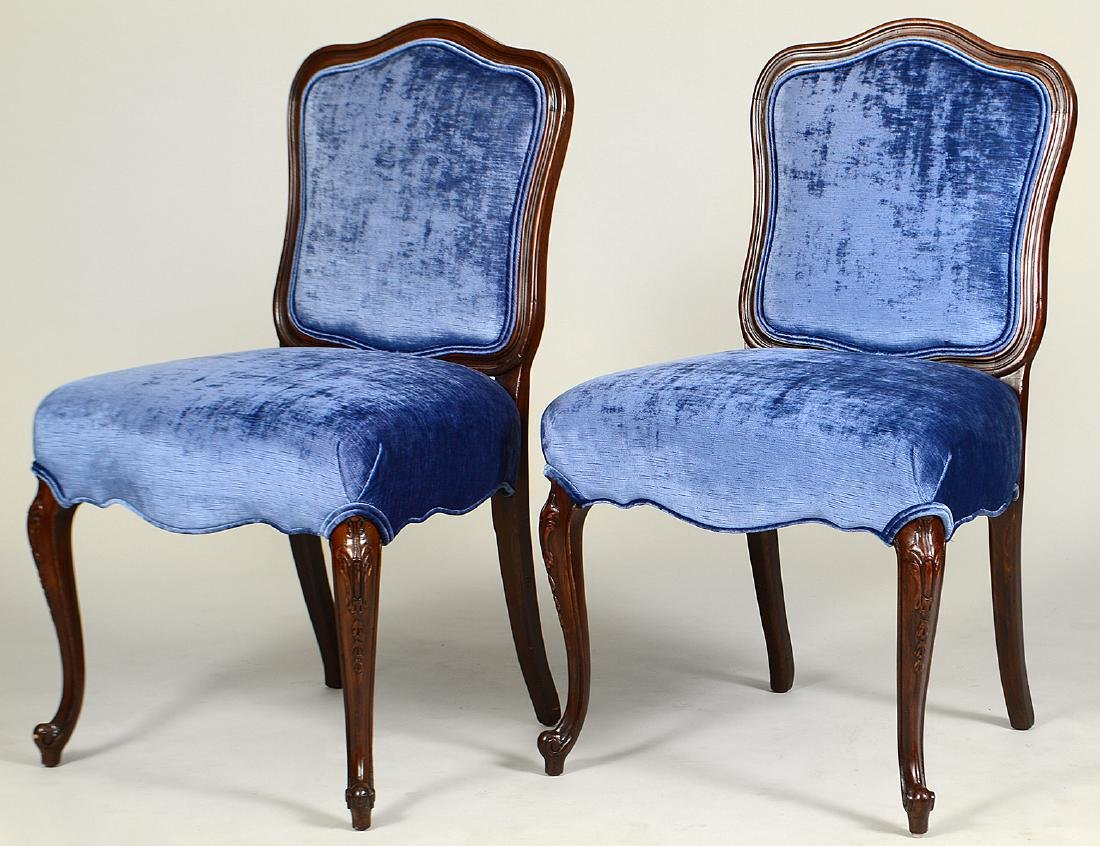PAIR OF LOUIS XV STYLE WALNUT SIDE CHAIRS