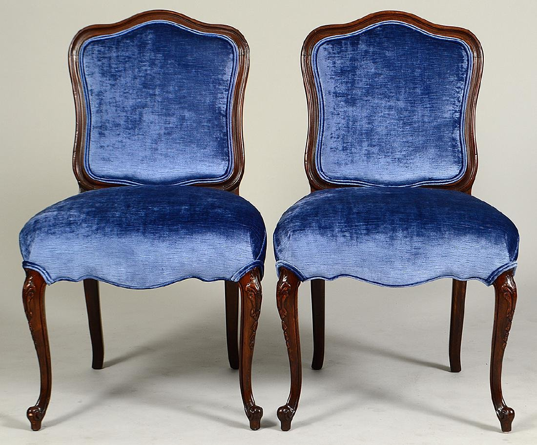 PAIR OF LOUIS XV STYLE WALNUT SIDE CHAIRS - 2