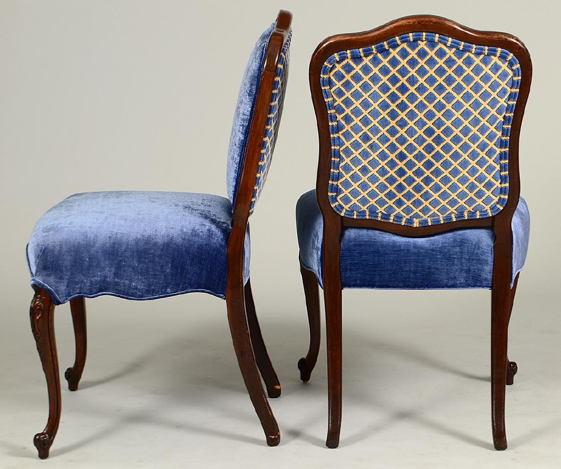 PAIR OF LOUIS XV STYLE WALNUT SIDE CHAIRS - 3