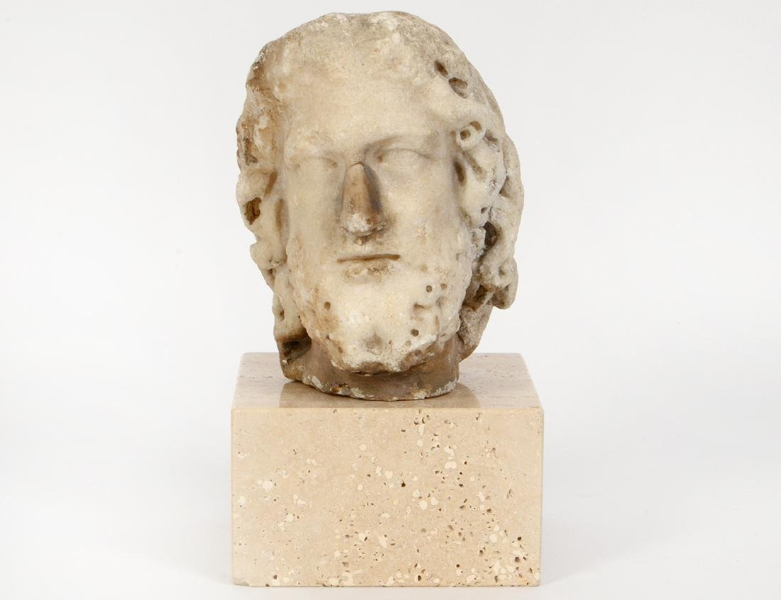 ROMAN MARBLE HEAD OF A BEARDED MAN