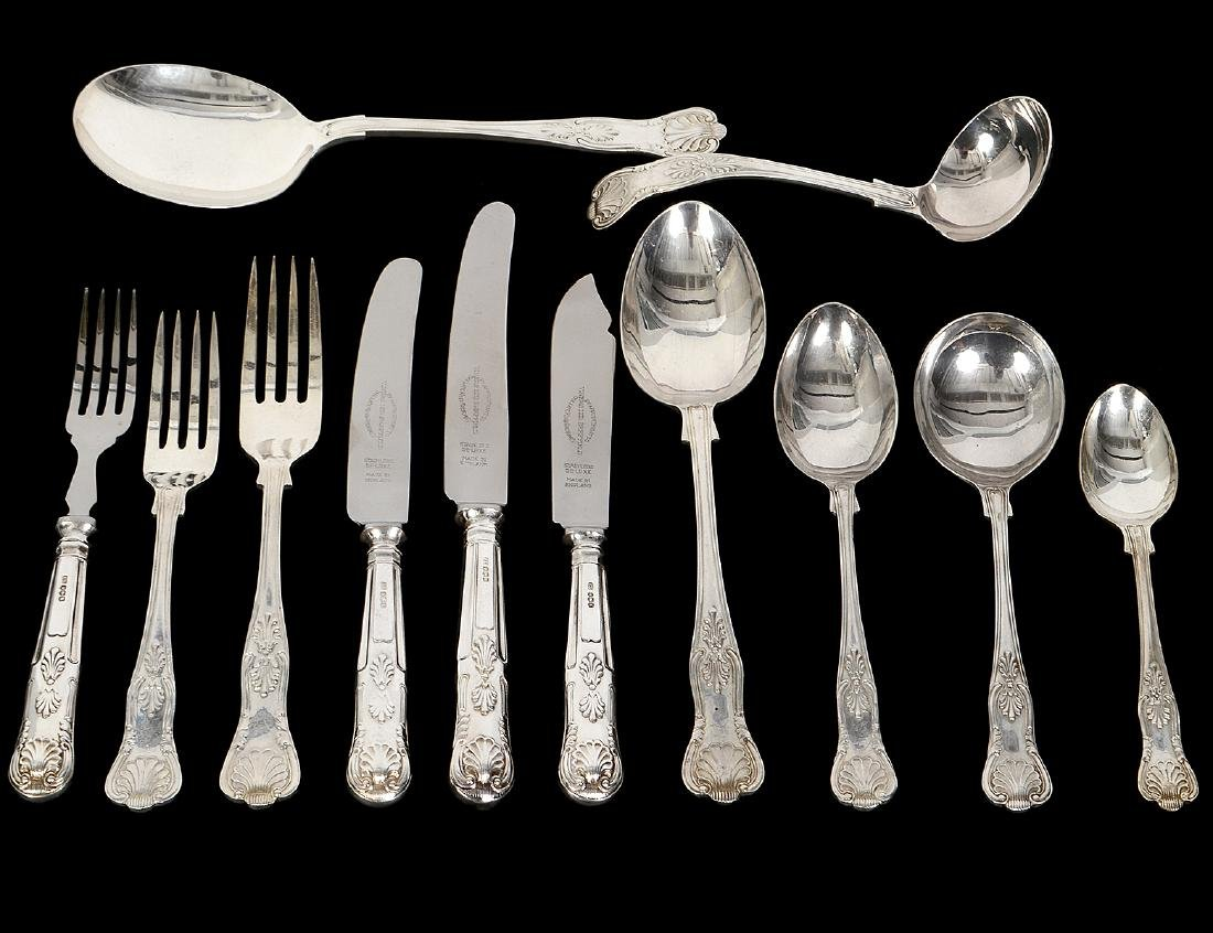 "ENGLISH ""KINGS"" PATTERN SILVER FLATWARE SERVICE"