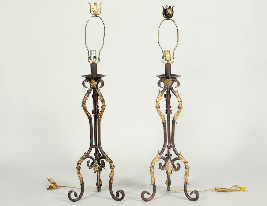 PAIR OF PARCEL GILT PATINATED IRON TABLE LAMPS