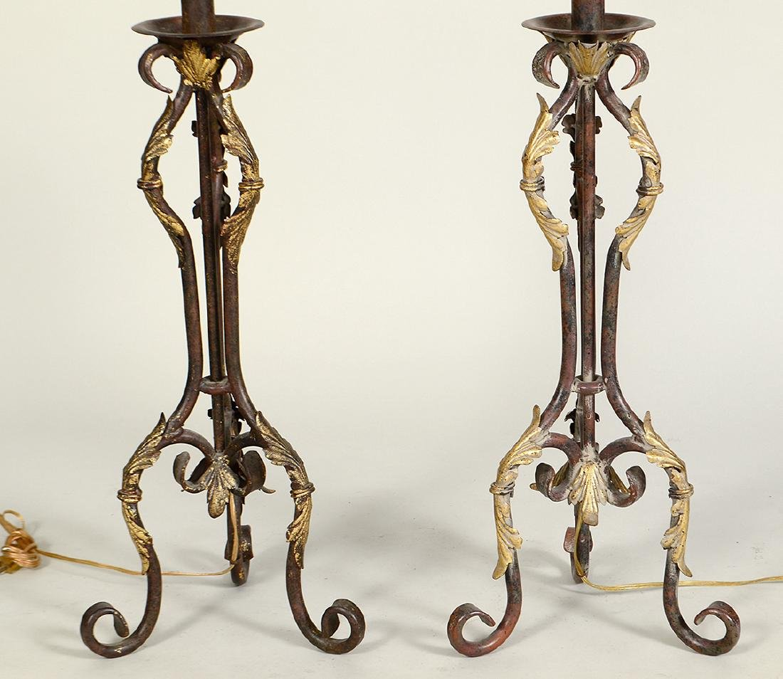 PAIR OF PARCEL GILT PATINATED IRON TABLE LAMPS - 2