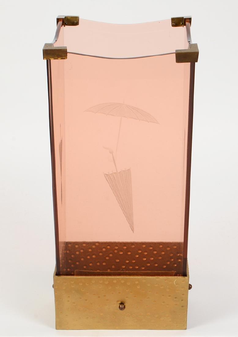 RARE FONTANA ARTE ROSE GLASS & GILT IRON UMBRELLA STAND - 2