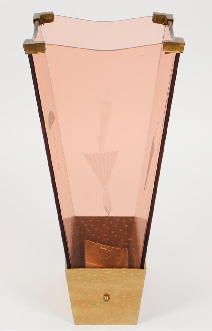 RARE FONTANA ARTE ROSE GLASS & GILT IRON UMBRELLA STAND - 3