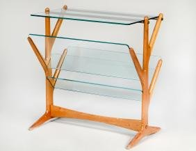 CASARE LACCA BLOND WOOD & GLASS SIDE TABLE