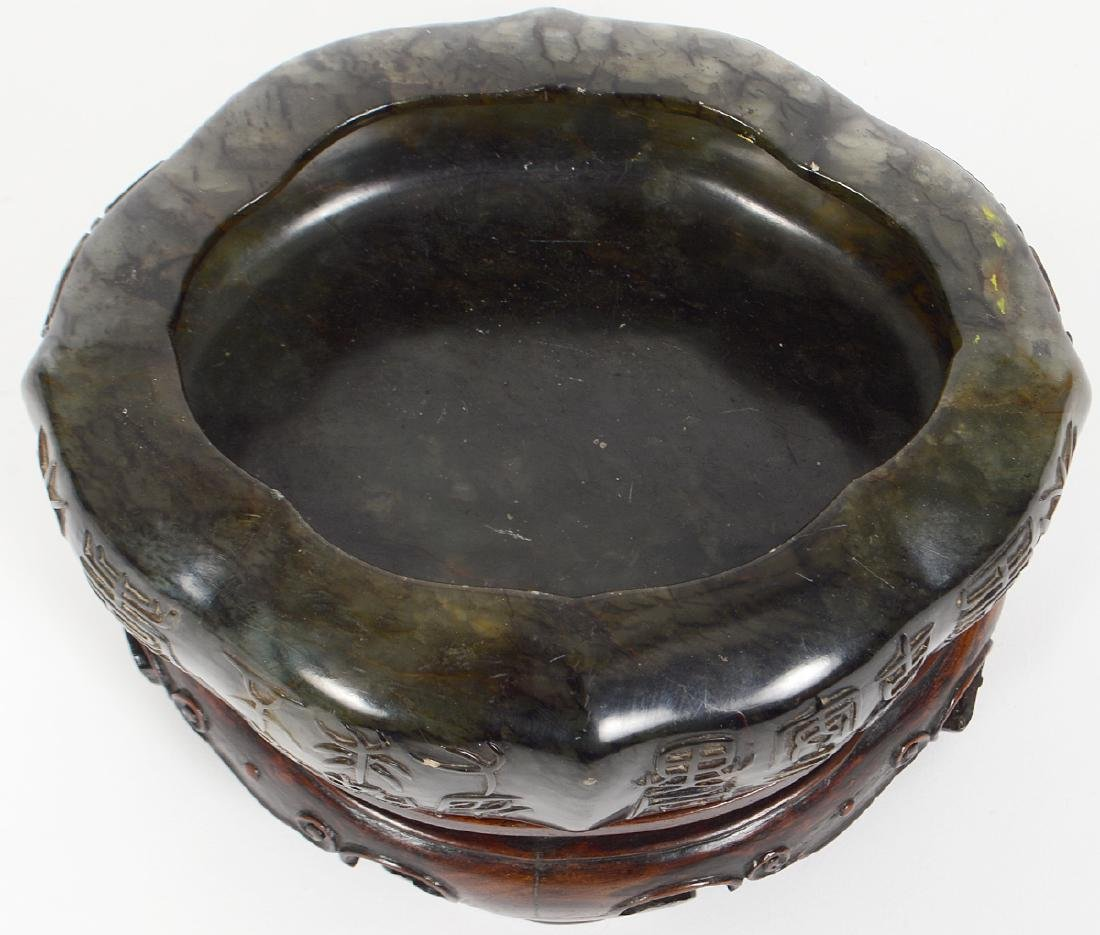 CHINESE MOTTLED SPINACHE JADE OVAL BOWL ON STAND - 5