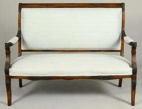 EMPIRE STYLE BRONZE MOUNTED MAHOGANY SETTEE