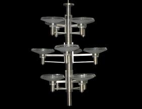 CHROME & GLASS PENDENT TWELVE-LIGHT CHANDELIER