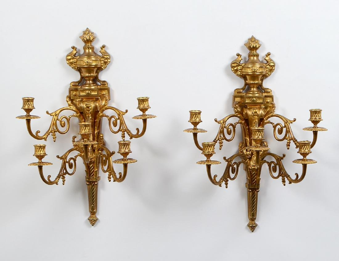 PAIR OF LOUIS XVI STYLE SIX LIGHT GILT BRONZE SCONCES