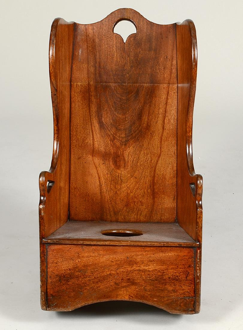 LATE GEOTRGIAN WALNUT CHILD'S COMMODE CHAIR - 2